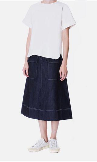 BTV Chambray Midi Skirt With Pockets