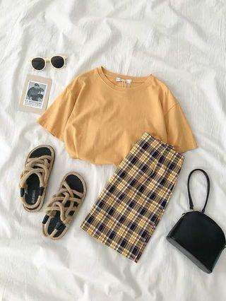 🌽 Two piece set Tshirt+ skirt  #CarousellFaster