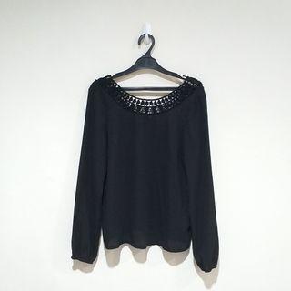H&M Black Crochet Blouse