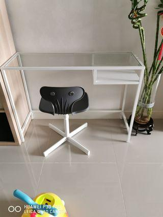 Table (Glass Top) with chair