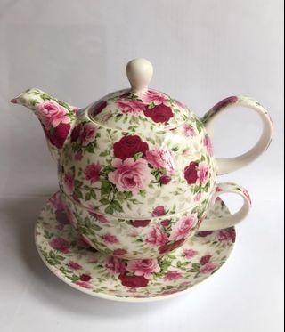 Maxwell & Williams Rosebud Teapot Teacup & Saucer For One 陶瓷茶壺茶杯