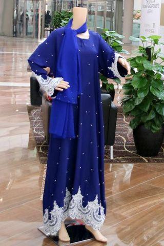 🚚 Classy Royal Blue Abaya with Turkish Lace