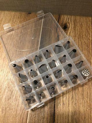 [全新] 24頭不銹鋼唧花嘴套裝連盒 烘焙工具 蛋糕 曲奇