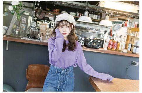 🚚 轉售lulus落肩針織毛衣 針織上衣 紫