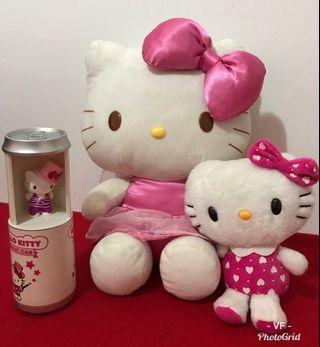 2 HELLO KITTY SOFT TOYS (03), 1 MAGIC CAN AND 1 FIGURINE