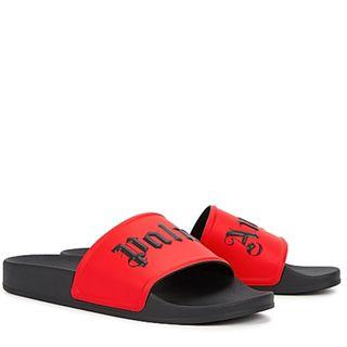 Palm Angels Red logo rubber sliders