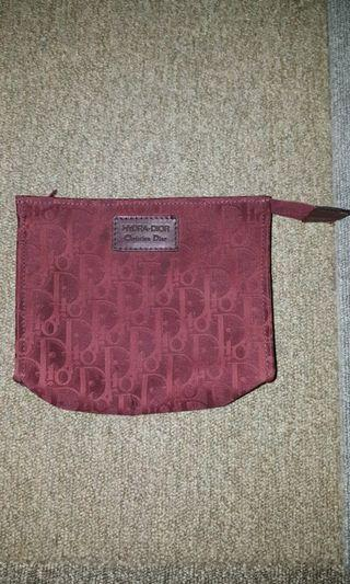Christian Dior Vintage Red Monogram Pouch Bag Authentic
