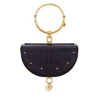 Chloé Nile navy leather minaudiére clutch