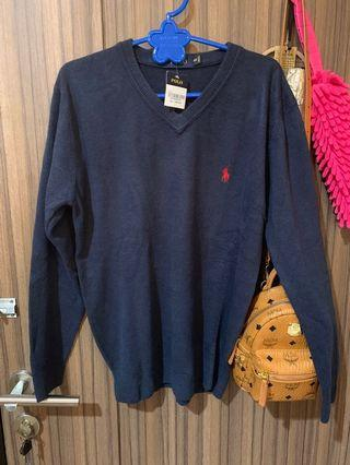 POLO 100% cotton men knit sweater in navy blue