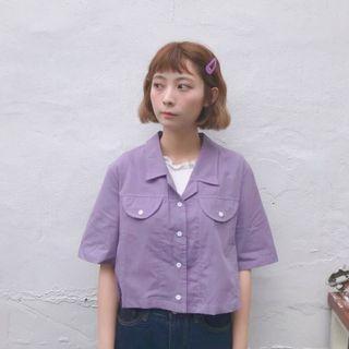 🚚 紫色短版襯衫