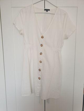 White button summer dress