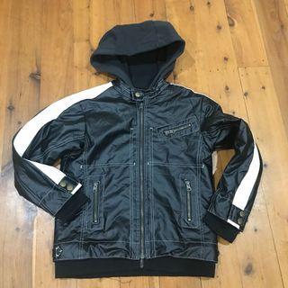Boys size 8 leather look hoody jacket size 8