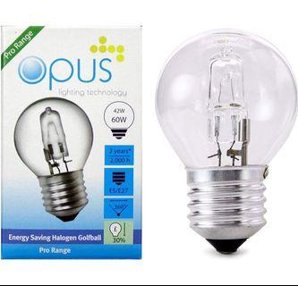 5 x Opus Halogen Energy Saving Golf Ball Light Bulbs 42w = 60w ES E27 Dimmable Warm White (M2238)