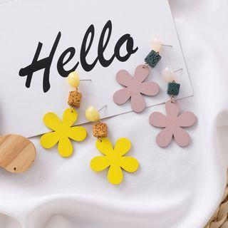 {朵朵韓飾} B2833 韓國直送(正韓)-甜美可愛彩色方塊花朵耳環(二色)