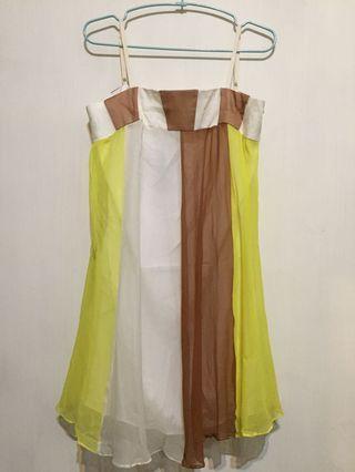 🚚 Q比小舖~全新絲質細肩帶背心洋裝 小禮服
