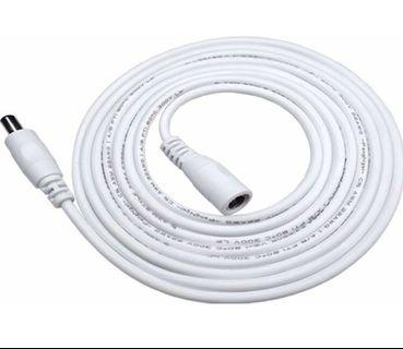 Liwinting 5m/16.4ft DC Extension Cable 2.1mm / 5.5mm Male to Female Connector, DC Power Cord Extension Cable for Power Adapter, 12V CCTV Wireless IP Camera, Monitors, Led, Car - White (M2243)