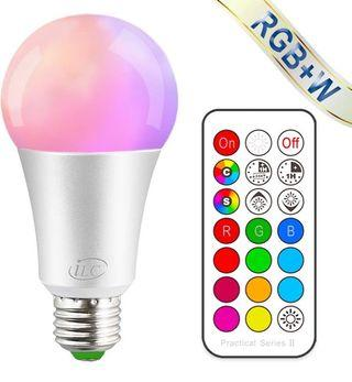 iLC Colour Changing Light Bulb Dimmable 10W E27 Edison Screw RGBW LED Light Bulbs Colour Changing Lights, Mood Light RGB White Coloured- Dual Memory - 12 Color Choices - Remote Controller Included (M2244)
