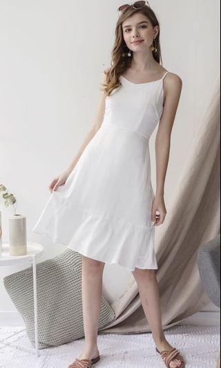 🚚 TTR Sophia Drop Hem Dress in White