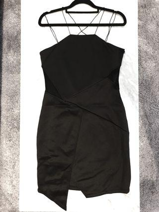 [SIZES UK: 12] Black A-symmetrical Spaghetti Strap Dress