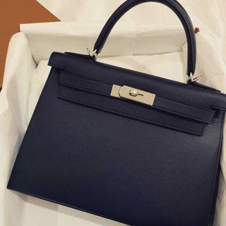Hermes Kelly 28 Sellier in Bleu indigo