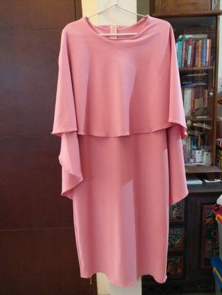 Pink scuba premium flare dress