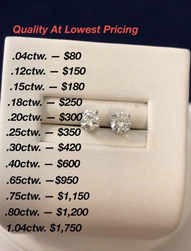 14k white gold .40ct. diamond stud earrings* Exceptionally low priced !