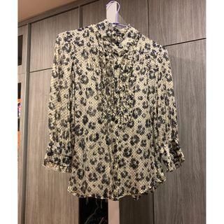 🚚 Zara Silk Top Floral Black & Yellow Lace (Like New)
