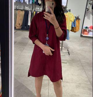 Dress maroon casual et cetera