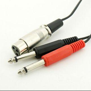 30cm XLR 3-Pin Female Jack to 2 x 6.35mm Male Mono Microphone Adapter Cable 5FT (M2248)