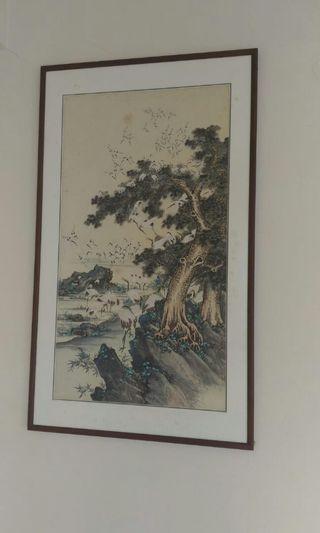 Chinese Painting vintage thousand flaminggo made from silk .meaning long life