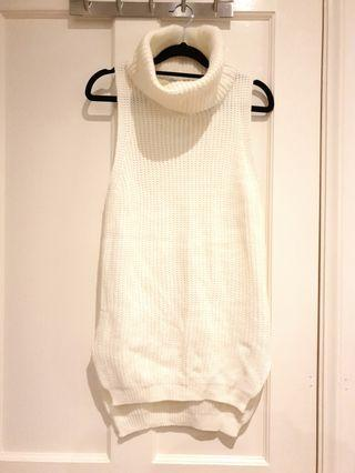 [SIZES UK: 6-8] White Turtle Neck Dress