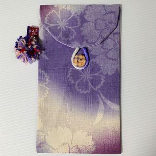 和風紫櫻手作手機袋
