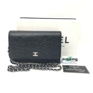 Chanel 香奈兒 Camellia Black Lambskin Silver-tone metal Wallet on Chain 黑色花形壓紋小羊皮 銀色金屬 鍊子錢包 100%真品