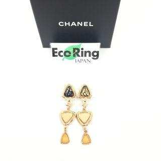 Chanel 香奈兒 CC Black Gold-tone Metal Drop Earrings 黑色 金色金屬 垂飾耳環 100%真品