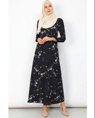 Poplook Dress - Carreya Zip-Front Dress - Navy Floral
