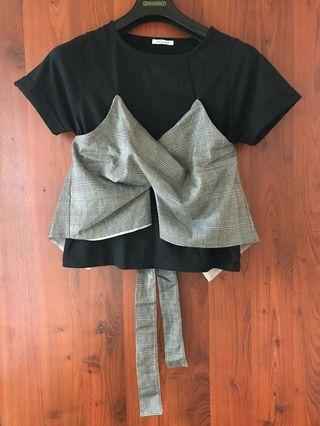 Tie-Back Bustier Black Top