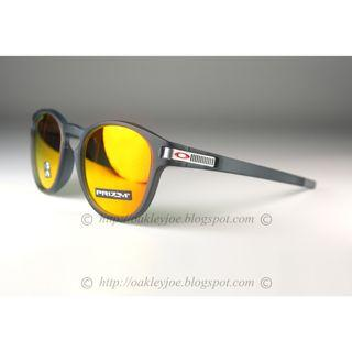Oakley Latch Asian Fit Grid Collection matte crystal black + prizm ruby oo9349-2453 sunglass shades