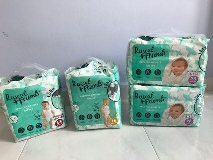 BRAND NEW Rascal + Friends Premium Diaper Nappies Tape (Size NB, Walker, Toddler)