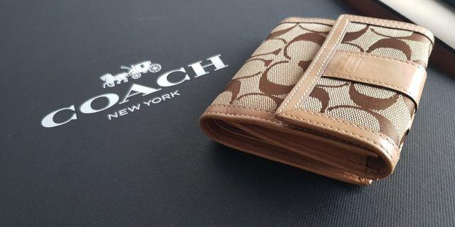 Coach Signature Brown Trifold Wallet