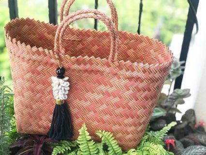 Straw Bag handmade handwoven size L