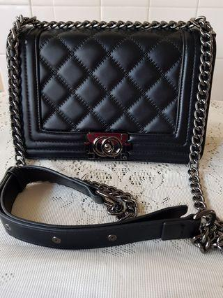 Black Quilted Sling Shoulder Bag with Chain