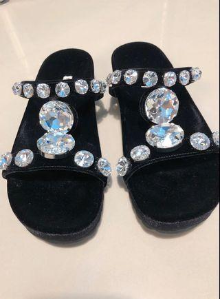 降價優惠 Miu Miu 水晶綴飾涼鞋