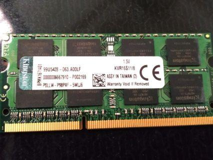 Kingston DDR3 RAM 8gb Laptop