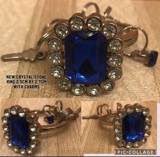 🚚 New Crystal stone Ring 2.5cm by 2.7cm with charms