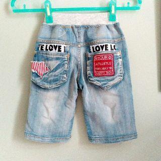 [韓款] 五分造型牛仔褲 (原購390)
