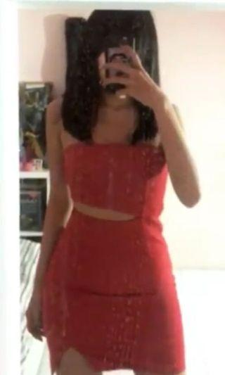 Red bodycon tube dress