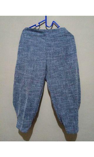 celana baggy bahan linen rami