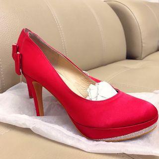 Kokko 緞面 婚鞋 紅色 高跟鞋 跟鞋 婚禮 婚宴 喜宴 緞面 龍鳳掛 秀禾服 秀禾鞋 蝴蝶結 水鑽 紅鞋
