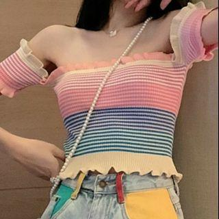 {preorder} Rainbow Striped Off Shoulder Top