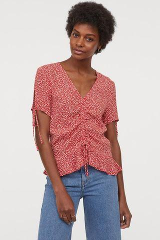 Viscose Red Floral Drawstring Blouse